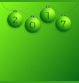 2017 new year background with green christmas vector image