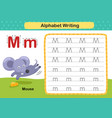 alphabet letter m-mouse exercise with cartoon