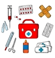 Ambulance and medical objects icons vector image vector image