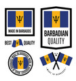 barbados quality label set for goods vector image vector image