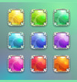 beautiful colorful cartoon crystal square buttons vector image vector image