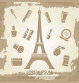beauty poster with cosmetics and eiffel tower vector image