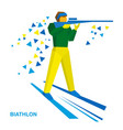biathlon athlete shoots a rifle standing on skis vector image vector image