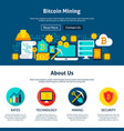 bitcoin mining website design vector image vector image