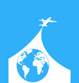 blue and white airplane background vector image vector image