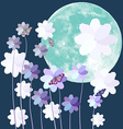 Butterfly and flower with big full moon on blue vector image vector image