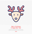 cartoon deer with antlers thin line icon vector image