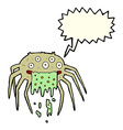 cartoon gross halloween spider with speech bubble vector image vector image