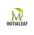 circle leaf initial letter m logo concept design vector image vector image