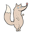 comic cartoon waving wolf vector image vector image
