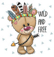 cute cartoon tribal teddy bear with feathers vector image vector image