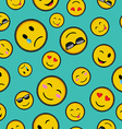 Cute emoji designs Seamless pattern vector image vector image