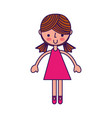 cute fuchsia girl cartoon vector image