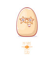 cute white egg cartoon kawaii character isolated vector image