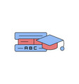 education icon- education cap with book flat vector image