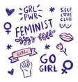 feminism slogan and patches vector image