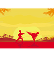 Fighting an enemy near the beach when the sun goes vector image vector image