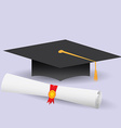 Flat design modern of graduation cap and diploma vector image