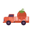 flat farmer truck pickup delivering harvest food vector image vector image