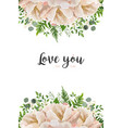 floral card design with peony flowers greenery vector image vector image