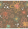 Floral seamless pattern on brown background vector image vector image