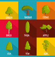 forest planting icons set flat style vector image vector image
