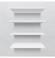 Four white realistic shelves against brick wall vector image vector image