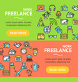 freelance signs banner horizontal set vector image vector image