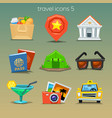 funny travel icons-set 5 vector image