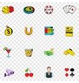 Gambling set icons vector image vector image