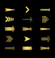 golden arrows icons on black background set vector image
