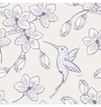 Hand drawn seamless pattern with humming bird and vector image vector image
