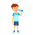 Happy boy with bottle of water vector image vector image