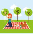 happy people picnic vector image