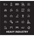 heavy industry editable line icons set on vector image vector image