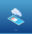 isometric mobile phone and cloud storage vector image vector image