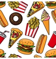 Junk food and drinks retro seamless pattern vector image vector image