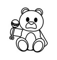 line bear teddy cute toy with rattle vector image vector image