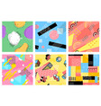 memphis seamless pattern hipster postcards vector image