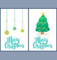 merry christmas set banners vector image