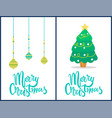 merry christmas set of banners vector image vector image