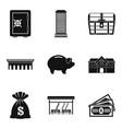 money abundance icons set simple style vector image