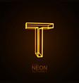 Neon 3D letter T vector image