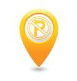 no parking symbol map pointer yellow vector image vector image