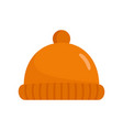 orange winter hat icon flat style vector image vector image