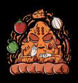 pizza buddha vector image