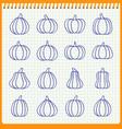 pumpkin line icon set gourd handwritten pen effect vector image