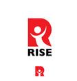 r letter rise letter based symbol vector image