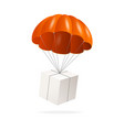 realistic detailed 3d parachute and white box vector image