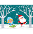 santa claus and snow maiden on sleds in forest vector image vector image